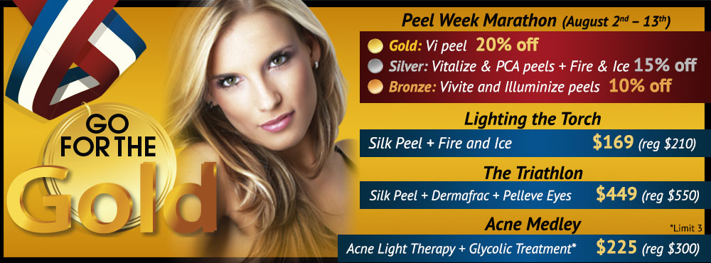 Go for the Gold Olympic Skin Care Packages - Peels, Dermafrac and more